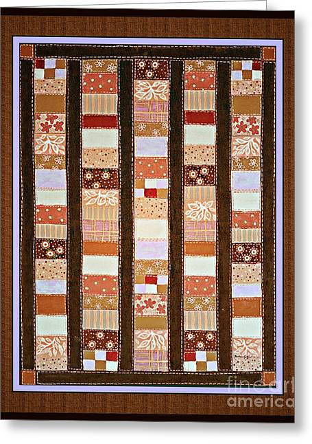 Coin Quilt -  Painting - Brown And White Patches Greeting Card by Barbara Griffin