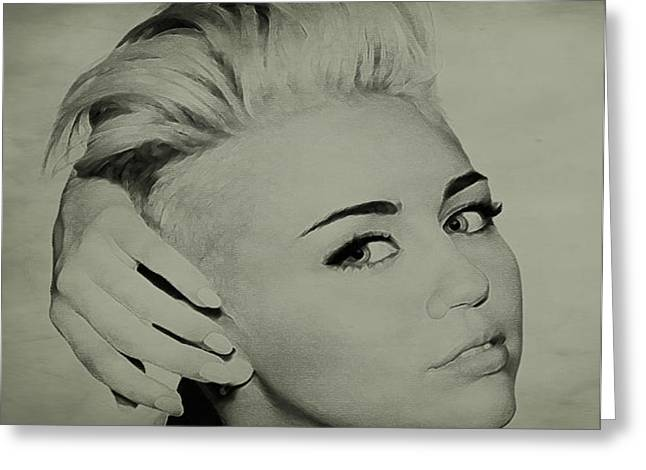 Miley Cyrus  Greeting Card by Brian Reaves