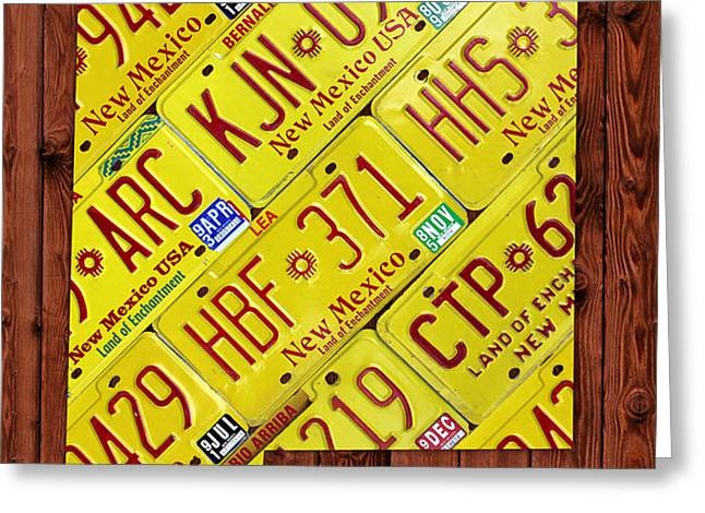New Mexico License Plate Map Greeting Card