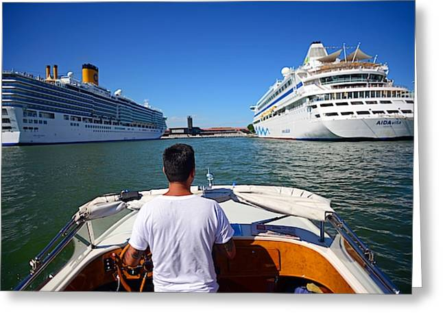 On Taxi Boat Through Venice Greeting Card