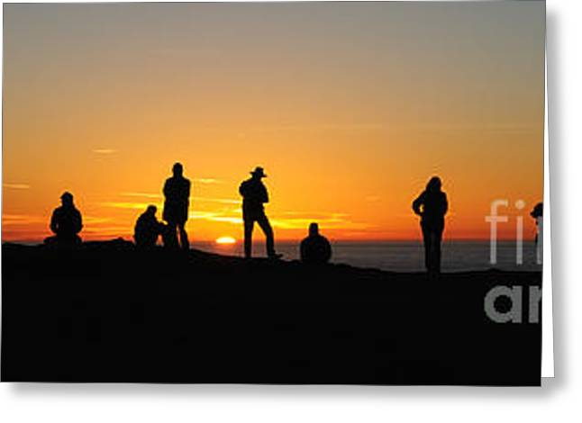 Greeting Card featuring the photograph Panorama Everyone Likes A Sunset by Vivian Christopher