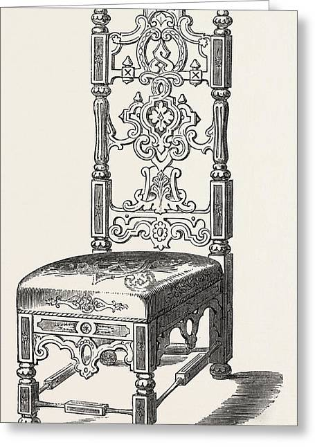Papier Mache Chair Greeting Card by Jennens And Bettridge, English, 19th Century