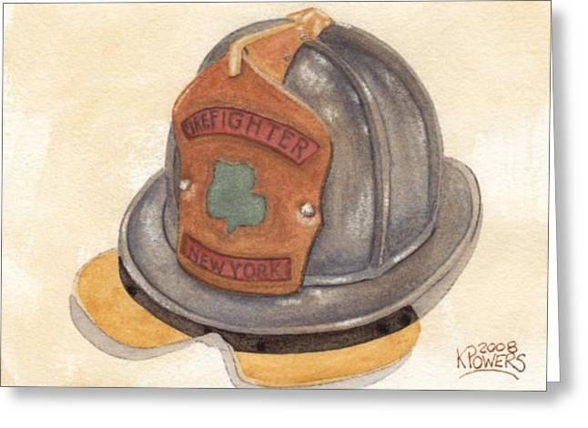 Proud To Be Irish Fire Helmet Greeting Card by Ken Powers