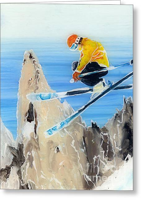 Skiing At Flegere Greeting Card by Sara Pendlebury