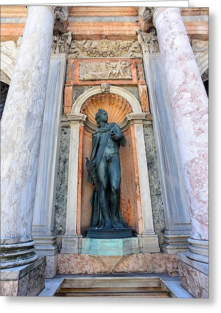 Statue At The Base Of The Campanile Di Greeting Card