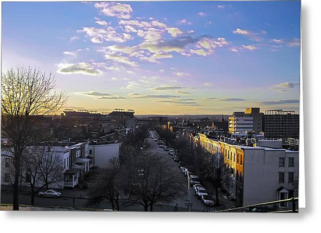 Greeting Card featuring the photograph Sunset Row Homes by Brian Wallace