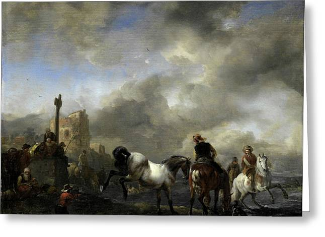 Watering Horses Near A Boundary Marker, Philips Wouwerman Greeting Card by Litz Collection