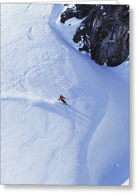 Young Man Skiing On Ungroomed Slope Greeting Card by Henry Georgi Photography Inc
