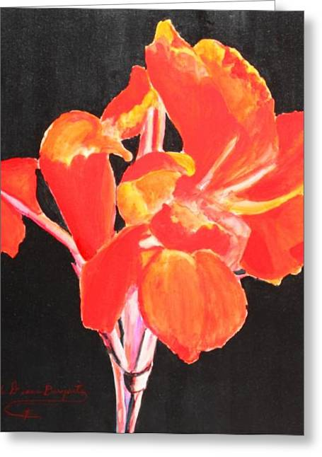 Greeting Card featuring the painting Red Canna by M Diane Bonaparte