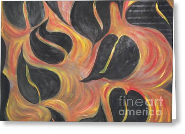 Aces Of Spades On Fire Greeting Card by Rachel Carmichael
