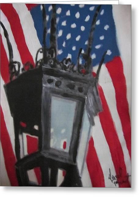 Boston Lightpost Greeting Card by David Poyant