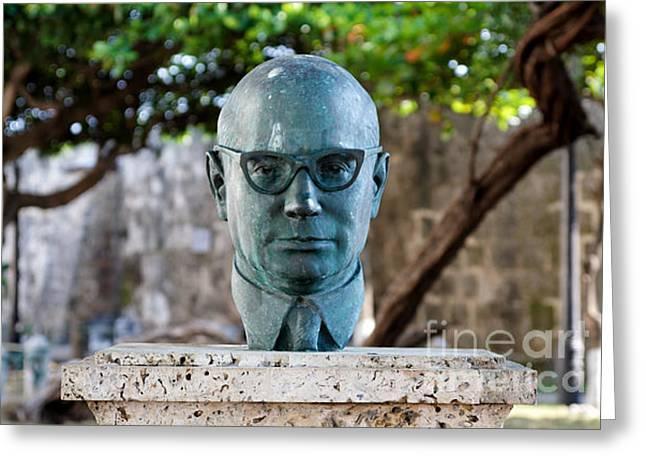 Bust Of Carlos Lleras Restrepo In Cartagena De Indias Colombia Greeting Card by Jannis Werner