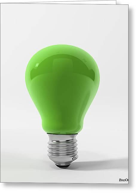 Green Ligth Bulb Greeting Card by BaloOm Studios