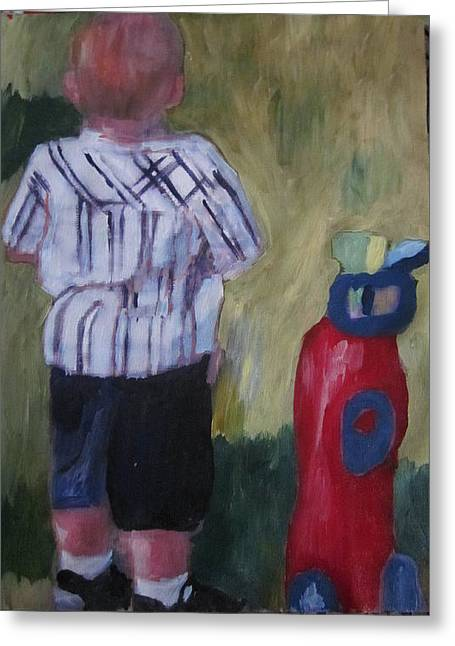 Little Golfer Greeting Card by David Poyant