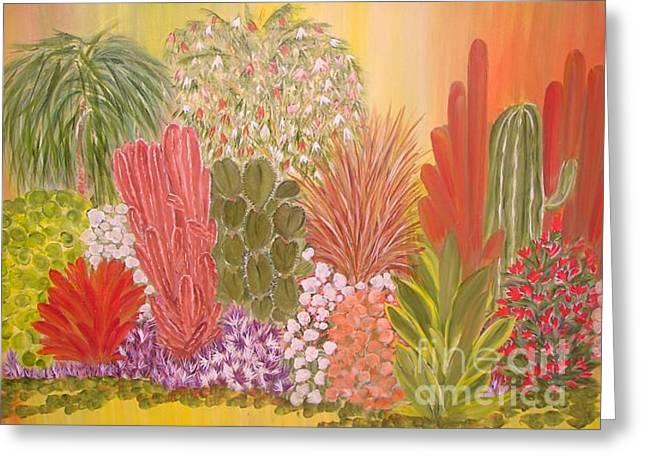 My Cactus Garden Greeting Card by Rachel Carmichael