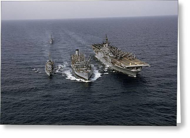 Navy Ships Refuel At Sea; Last Ship Greeting Card by J. Baylor Roberts