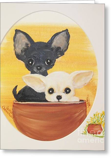 Pups In A Pot Greeting Card by Rachel Carmichael