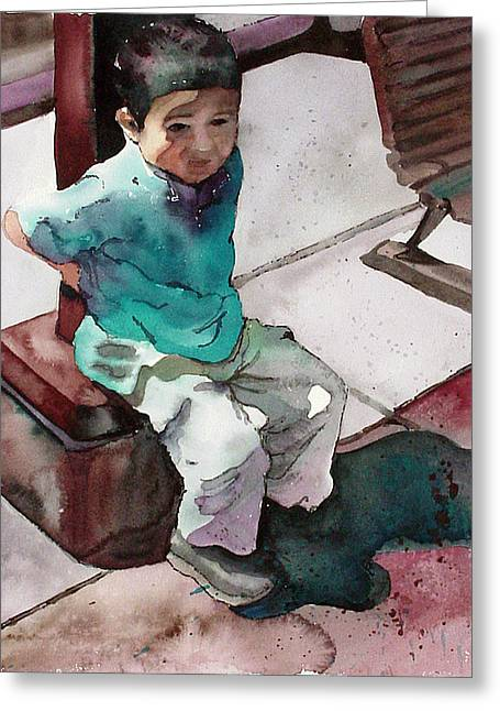 Greeting Card featuring the painting Andrew by Yolanda Koh