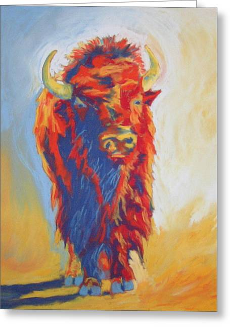 Greeting Card featuring the pastel Buffalo Blues by Pat Crowther