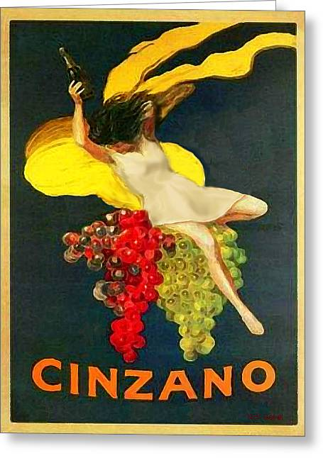 Cinzano Girl Greeting Card by Nick Diemel