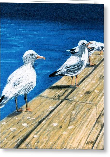 Greeting Card featuring the pastel Docked by Jan Amiss