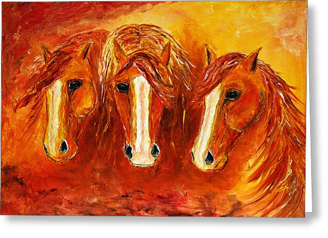 Greeting Card featuring the painting Fire Angels by Jennifer Godshalk
