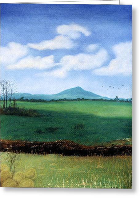Greeting Card featuring the pastel Hermit's Peak by Jan Amiss