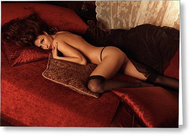 Sexy Young Woman Lying On A Bed Greeting Card