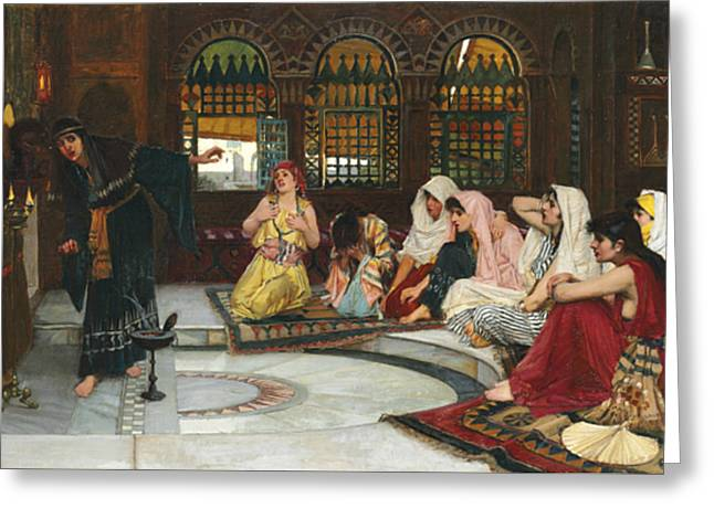 Consulting The Oracle Greeting Card by John William Waterhouse