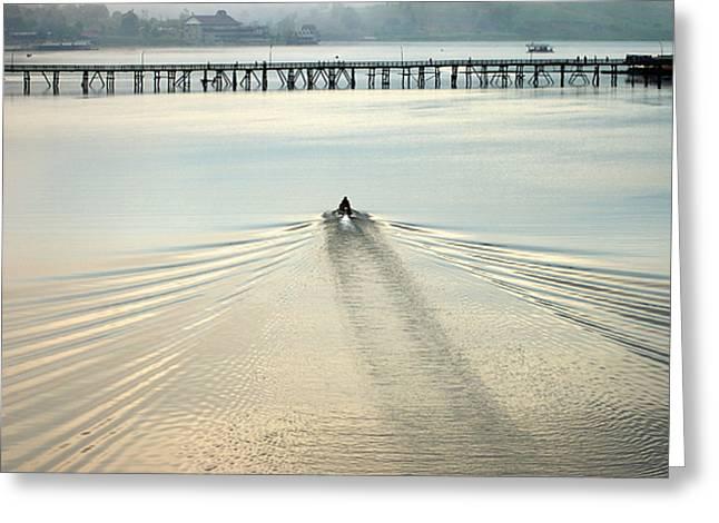 A Boat Approaching Mon Bridge In Sangkhlaburi Greeting Card by Jirawat Cheepsumol