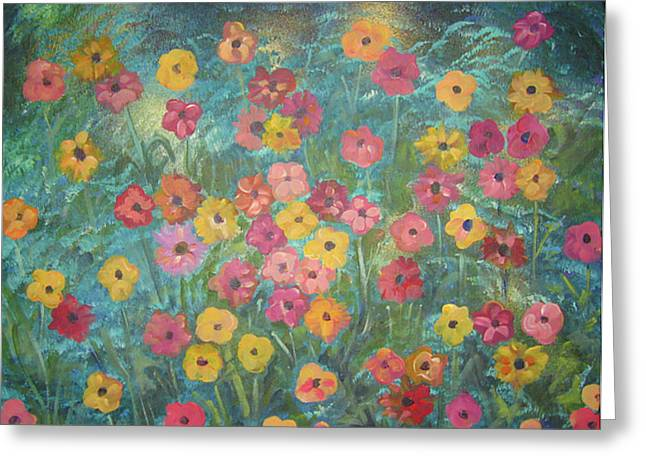 A Field Of Flowers Greeting Card by John Keaton