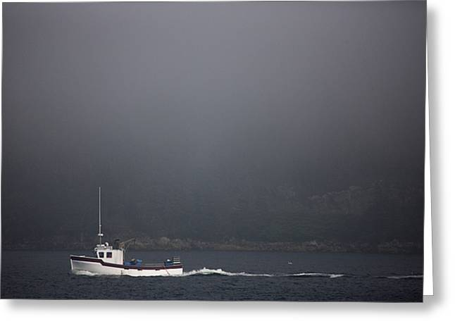 A Fishing Boat Motors Through The Fog Greeting Card by Pete Ryan