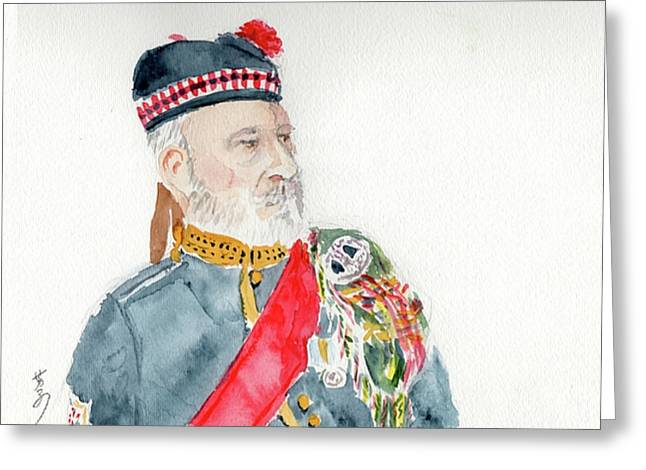 Greeting Card featuring the painting A Scottish Soldier by Yoshiko Mishina