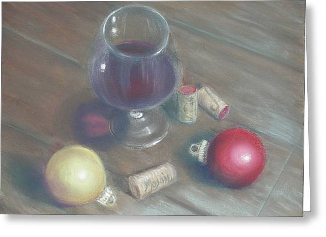 A Wine Christmas Greeting Card by Ellen Minter