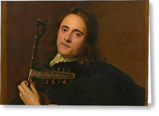A Young Man At A Stone Window Playing A Theorbo-lute Greeting Card