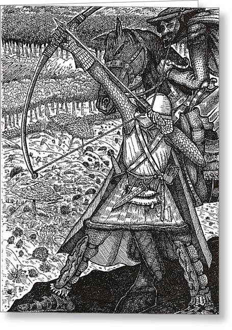 Greeting Card featuring the drawing Abbadon Takes Aim by Al Goldfarb