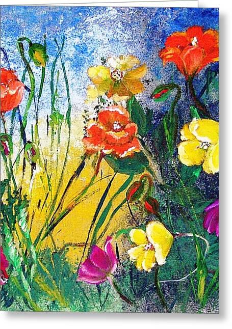 Abendwiese       Evening Garden Greeting Card by Birgit Schlegel