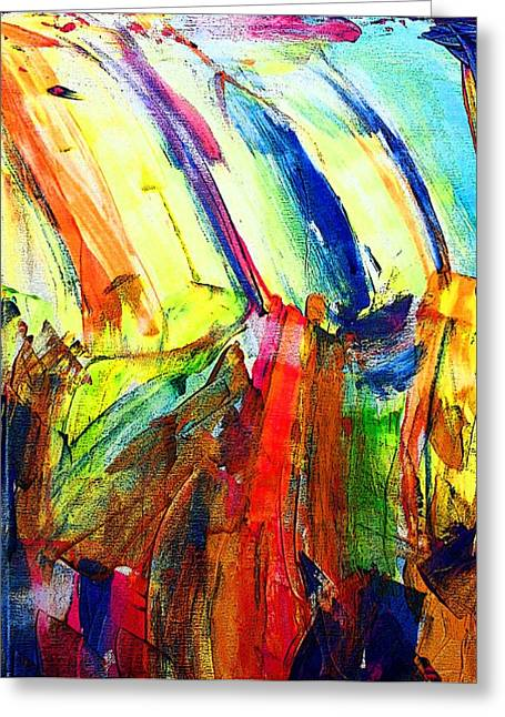 Greeting Card featuring the painting Abstract Colored Rain by Jennifer Godshalk
