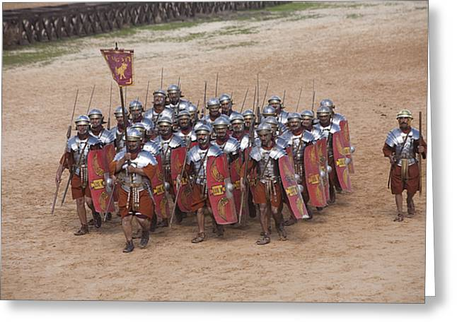 Actors Re-enact A Roman Legionaries Greeting Card by Taylor S. Kennedy