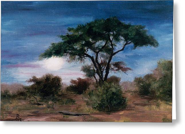 Greeting Card featuring the painting African Moon by Brenda Thour