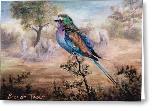 Greeting Card featuring the painting African Roller by Brenda Thour