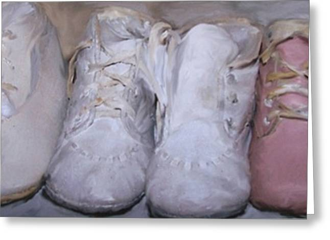 Antique Baby Shoes Greeting Card by Linda Scharck
