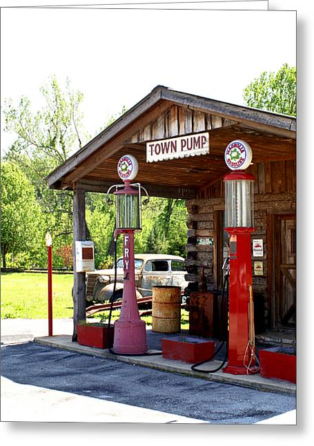 Antique Car And Filling Station 2 Greeting Card by Douglas Barnett