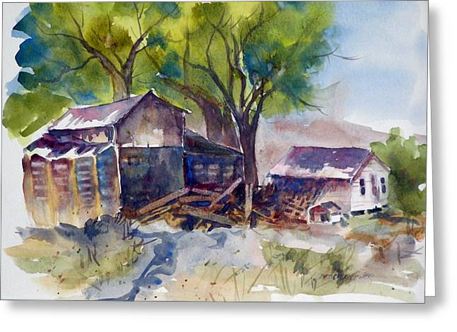 Greeting Card featuring the painting Arcularis Barn by Pat Crowther