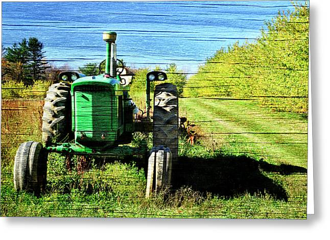 Autumn Deere With Wood Grain Greeting Card