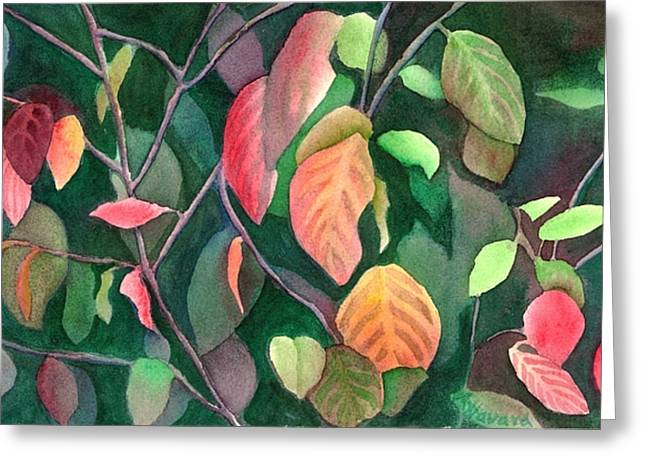 Autumn Leaves Greeting Card by Anne Havard