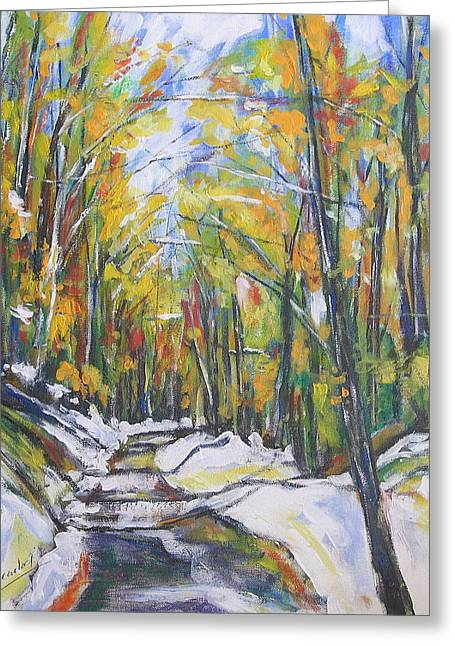 Greeting Card featuring the painting Autumn Trees by Debora Cardaci