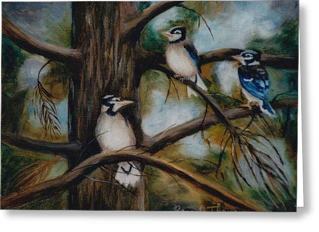 Greeting Card featuring the painting Baby Jays by Brenda Thour