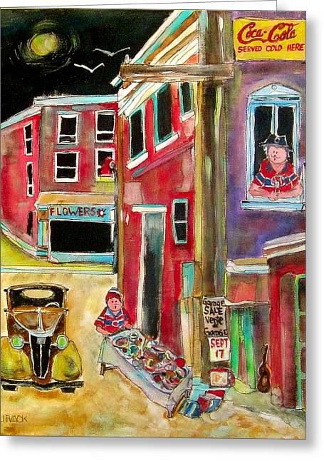 Back Lane Garage Sale Greeting Card by Michael Litvack