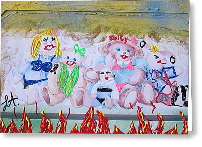 Greeting Card featuring the painting Bad Bears by Lisa Piper